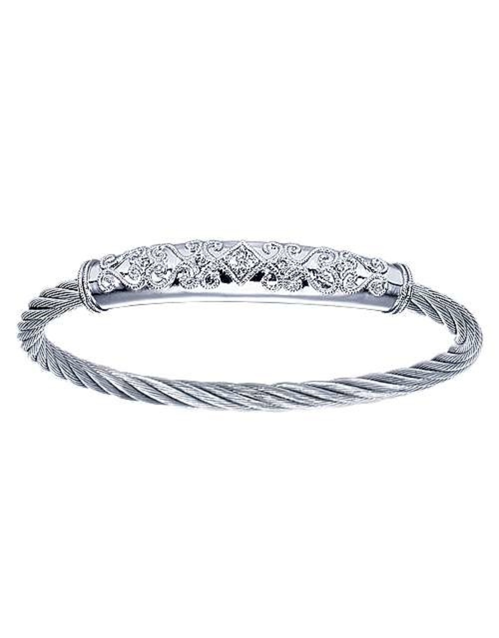Intricate 925 & Stainless Steel Bangle Bracelet, D: 0.10ct