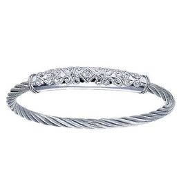 925 & Stainless Steel Bangle Bracelet with Diamond Detail