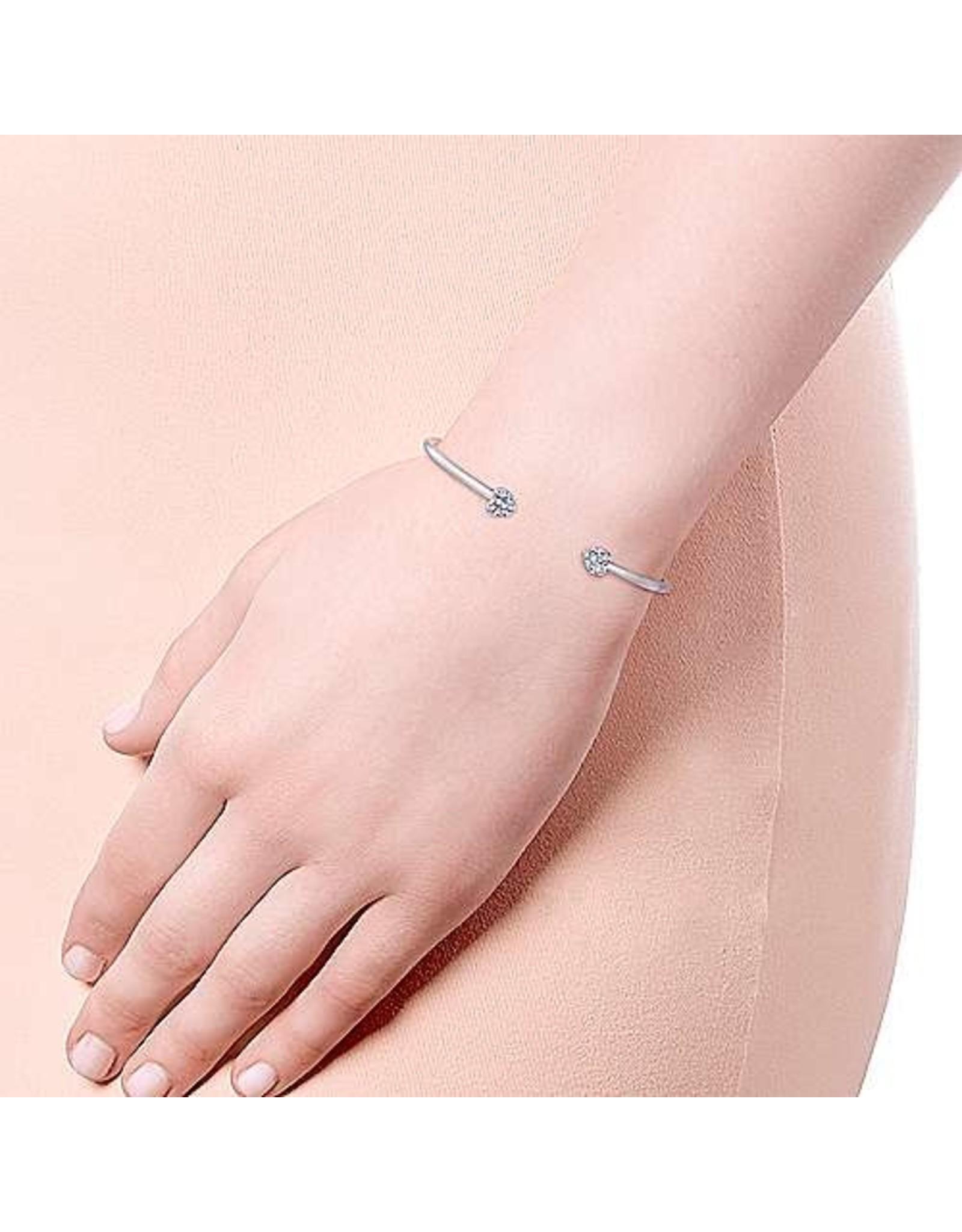 925 White Sapphire Double Heart Cuff Bracelet
