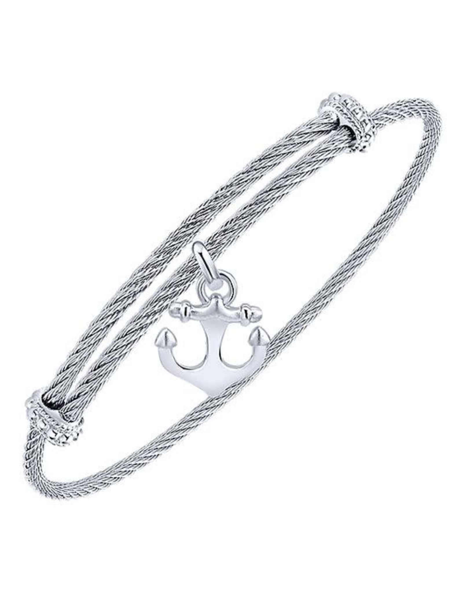 Adjustable Twisted Cable Stainless Steel Bangle with Sterling Silver Anchor Charm