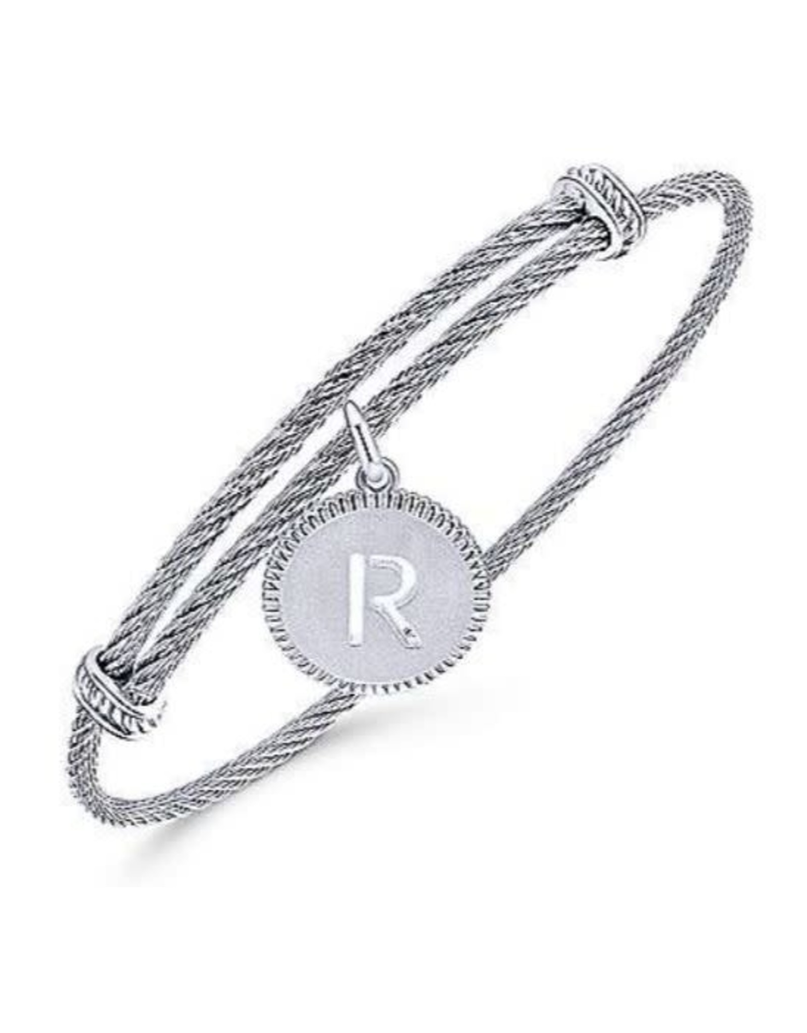 Adjustable Twisted Cable Stainless Steel Bangle with Sterling Silver Initial Charm- BG3632