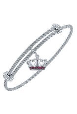 Adjustable Twisted Cable Stainless Steel Bangle Bracelet with Sterling Silver Royal Crown Charm