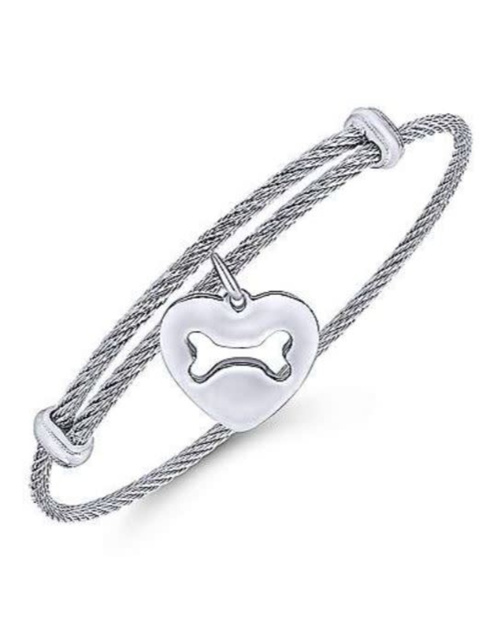 Adjustable Twisted Cable Stainless Steel Bangle with Sterling Silver Doggy Bone Charm