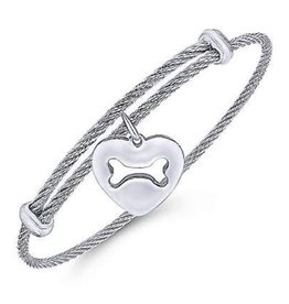 Dog Bone Heart Expandable Bracelet