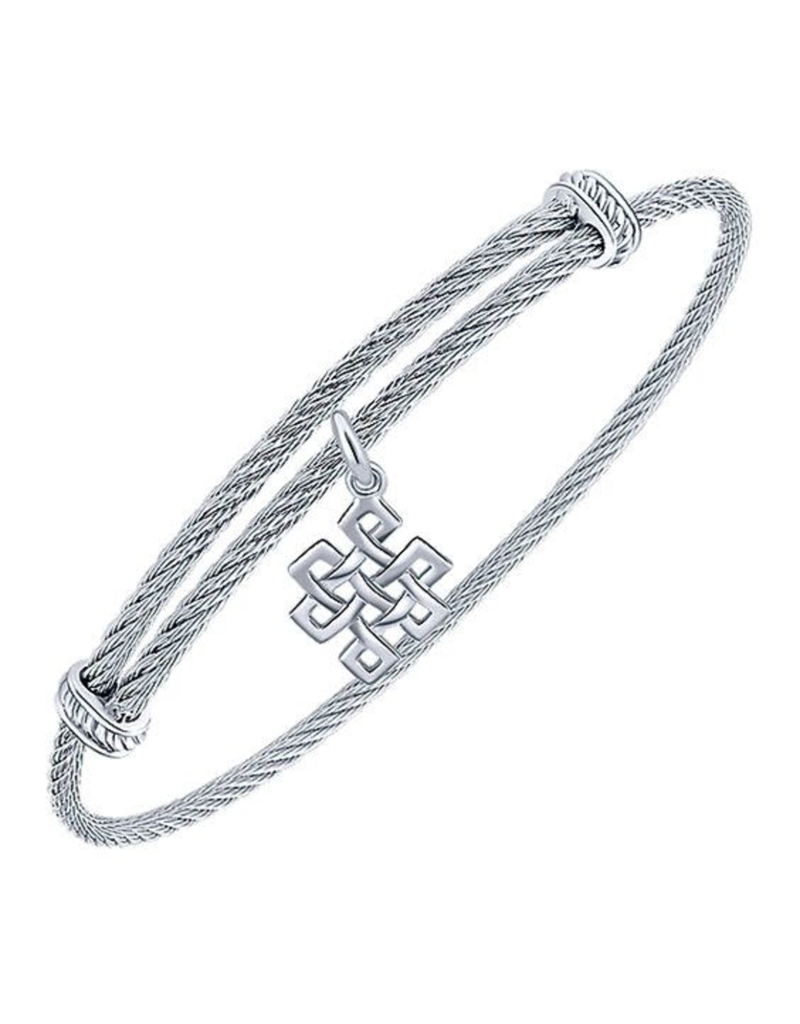Adjustable Twisted Cable Stainless Steel Bangle Bracelet with Sterling Silver Endless Knot Charm