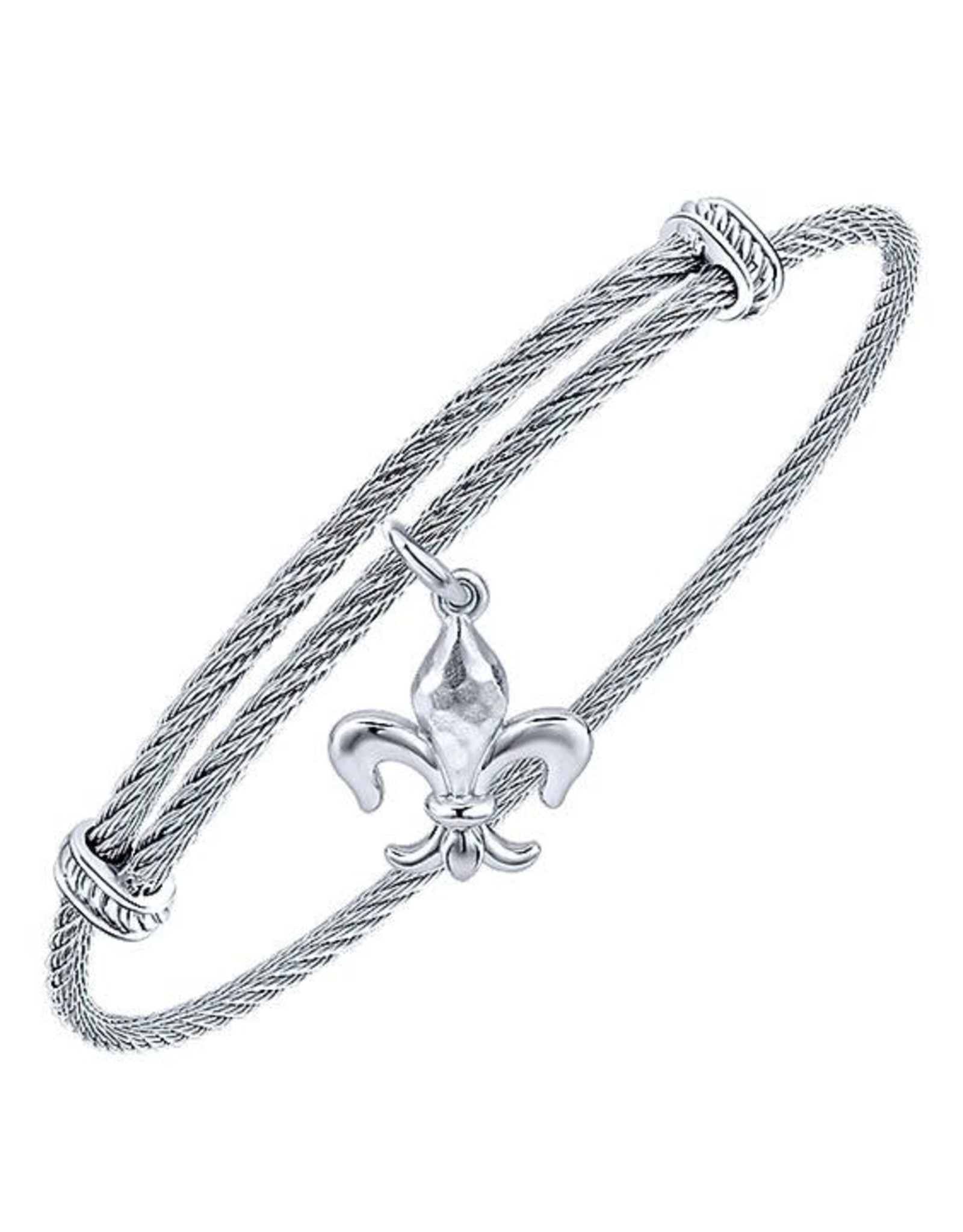 Adjustable Twisted Cable Stainless Steel Bangle Bracelet with Sterling Silver Fleur de Lis Charm