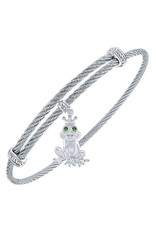 Twisted Cable Stainless Steel Bangle with Sterling Silver Emerald Eye Prince Charming Frog Charm