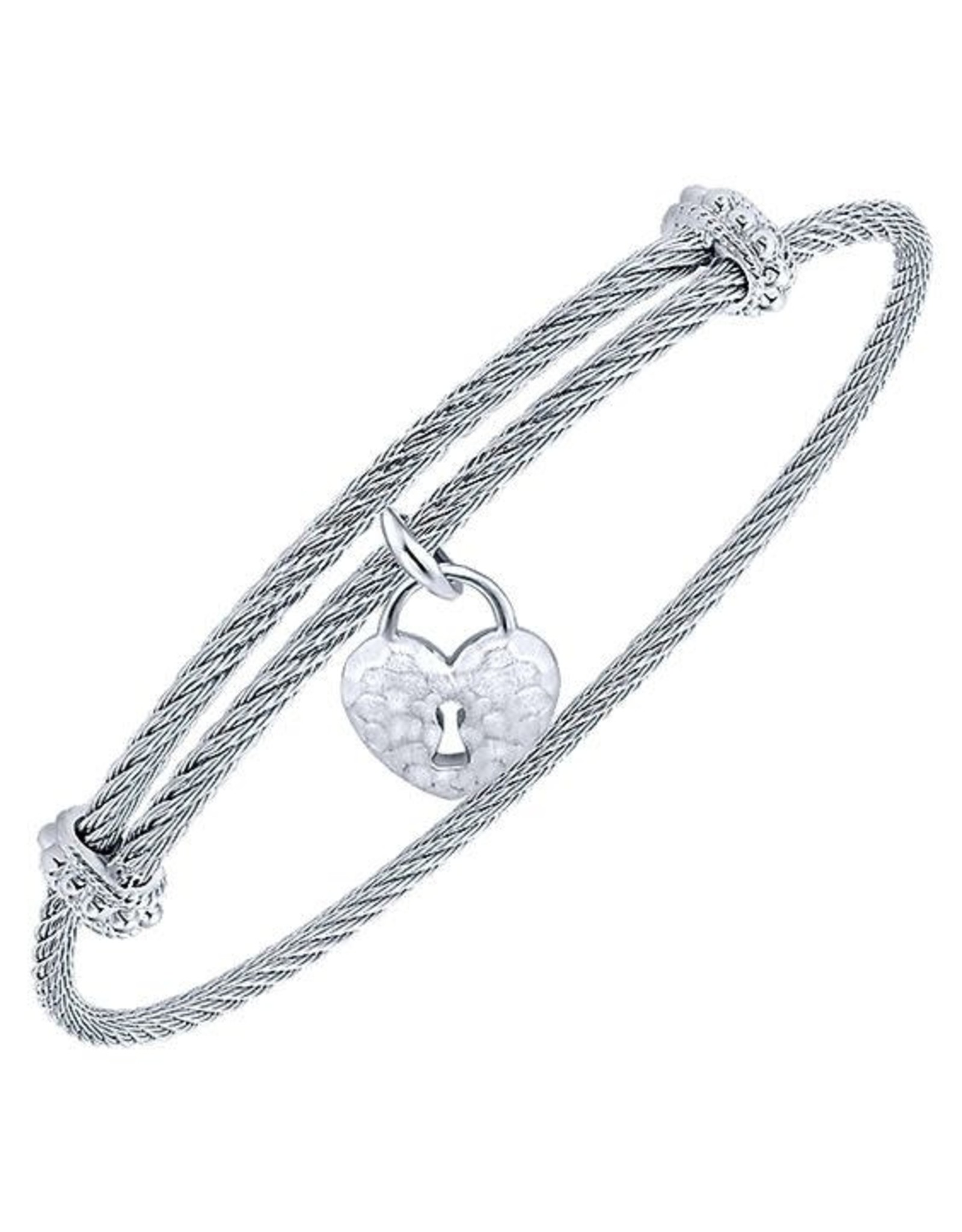 Adjustable Twisted Cable Stainless Steel Bangle Bracelet with Sterling Silver Heart Lock Charm