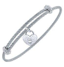 Hammered Heart Expandable Bracelet