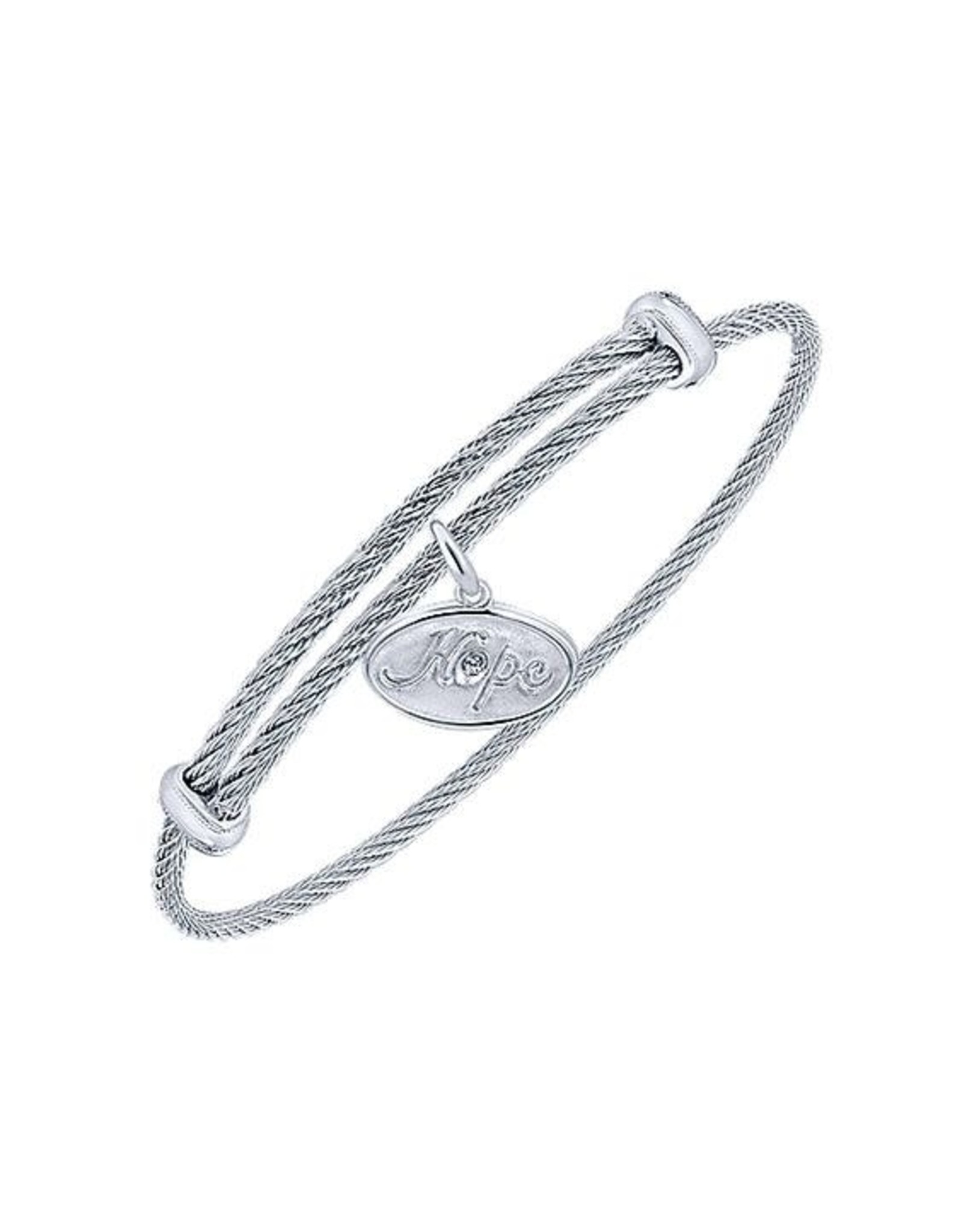 Adjustable Twisted Cable Stainless Steel Bangle Bracelet with Sterling Silver Diamond Hope Charm, D: 0.01cts