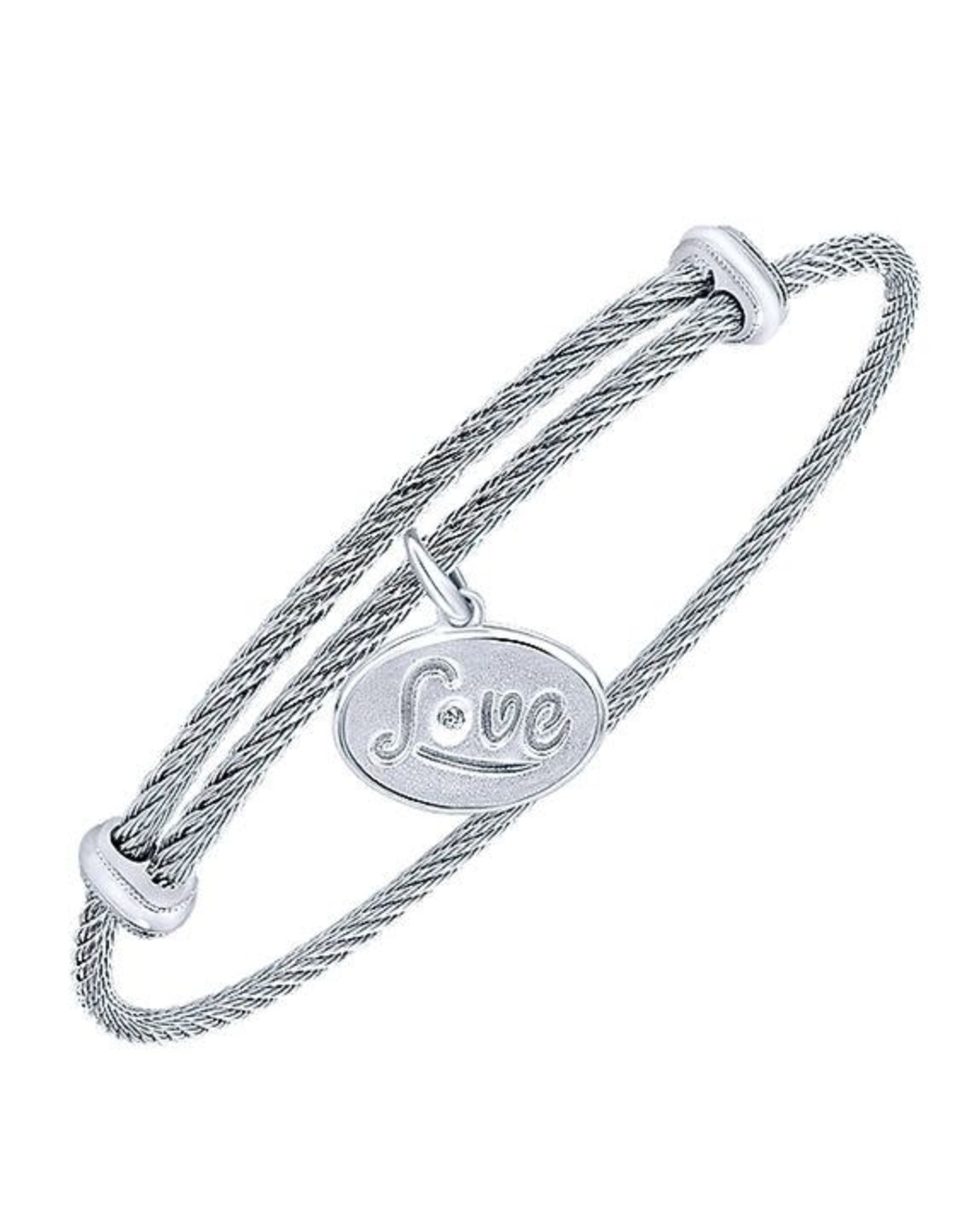 Adjustable Twisted Cable Stainless Steel Bangle Bracelet with Sterling Silver Diamond LOVE Charm, D: 0.01cts