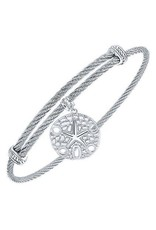 Adjustable Twisted Cable Stainless Steel Bangle Bracelet with Sterling Silver Sand Dollar Charm