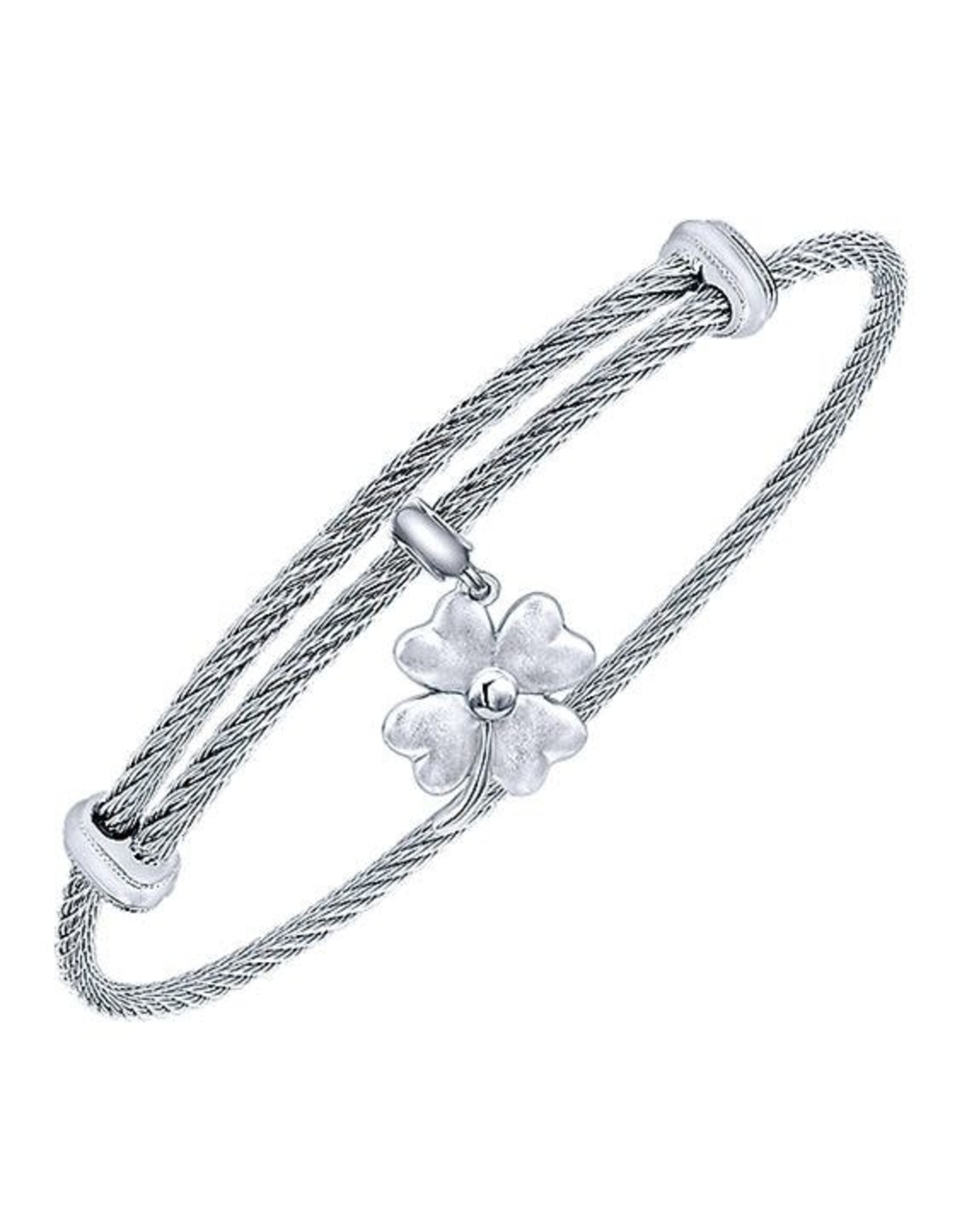 Adjustable Twisted Cable Stainless Steel Bangle Bracelet with Sterling Silver 4 Leaf Clover Charm