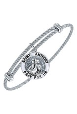 Adjustable Twisted Cable Stainless Steel Bangle Bracelet with Sterling Silver St. Anthony Charm
