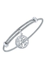 Adjustable Twisted Cable Stainless Steel Bangle Bracelet with Sterling Silver Tree of Life Charm