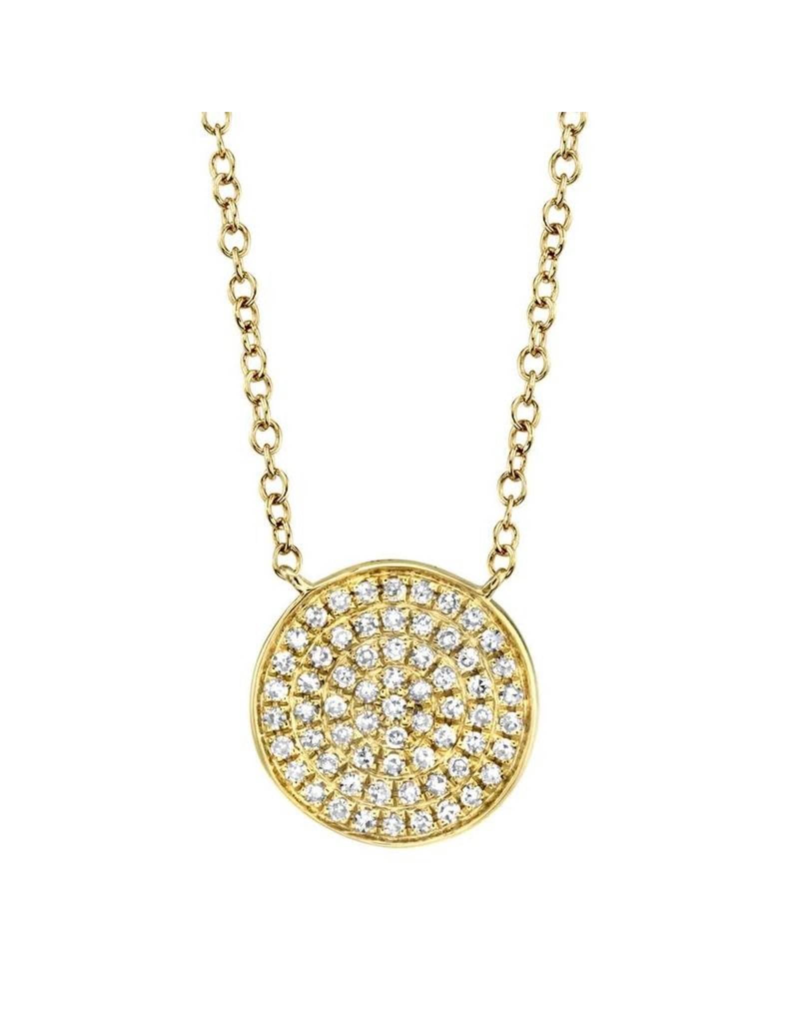 14K Yellow Gold Pave Disc Necklace, D: 0.15ct
