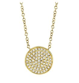 14K Y/G Pave Disc Necklace