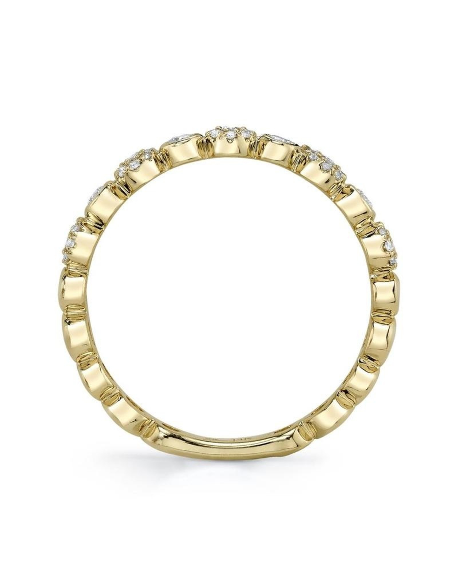 14K Yellow Gold Pave Diamond Stackable Ring, D: 0.22ct