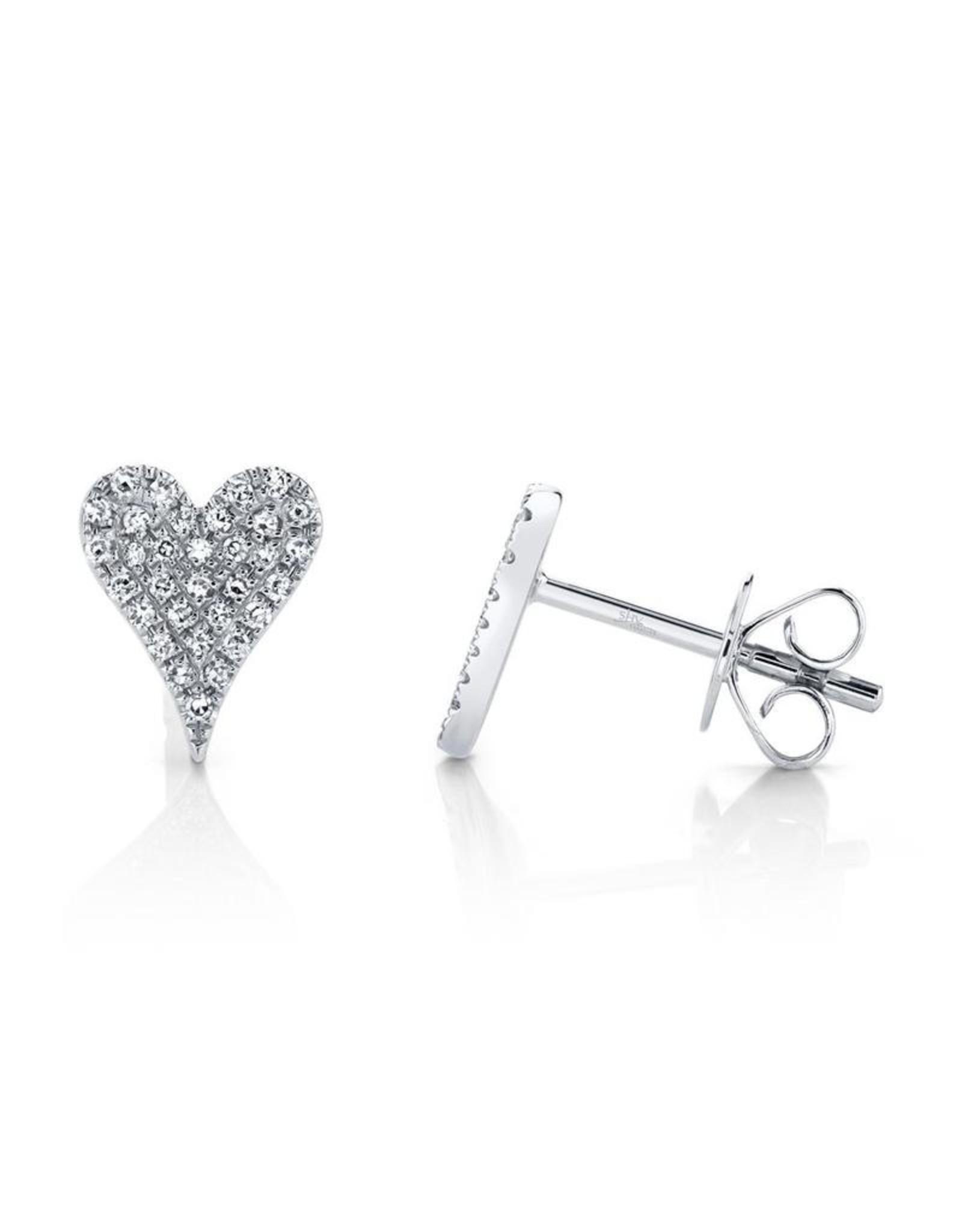14K W/G Small Pave Diamond Heart Stud Earrings, D: 0.14ct