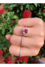 14K White Gold Pink Tourmaline and Diamond Ring, PT: 2.16cts, D: 0.37cts