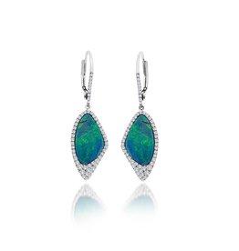 14K W/G Opal & Diamond Dangle Earrings