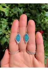 14K White Gold Opal and Diamond Dangle Earrings, D: 0.50cts
