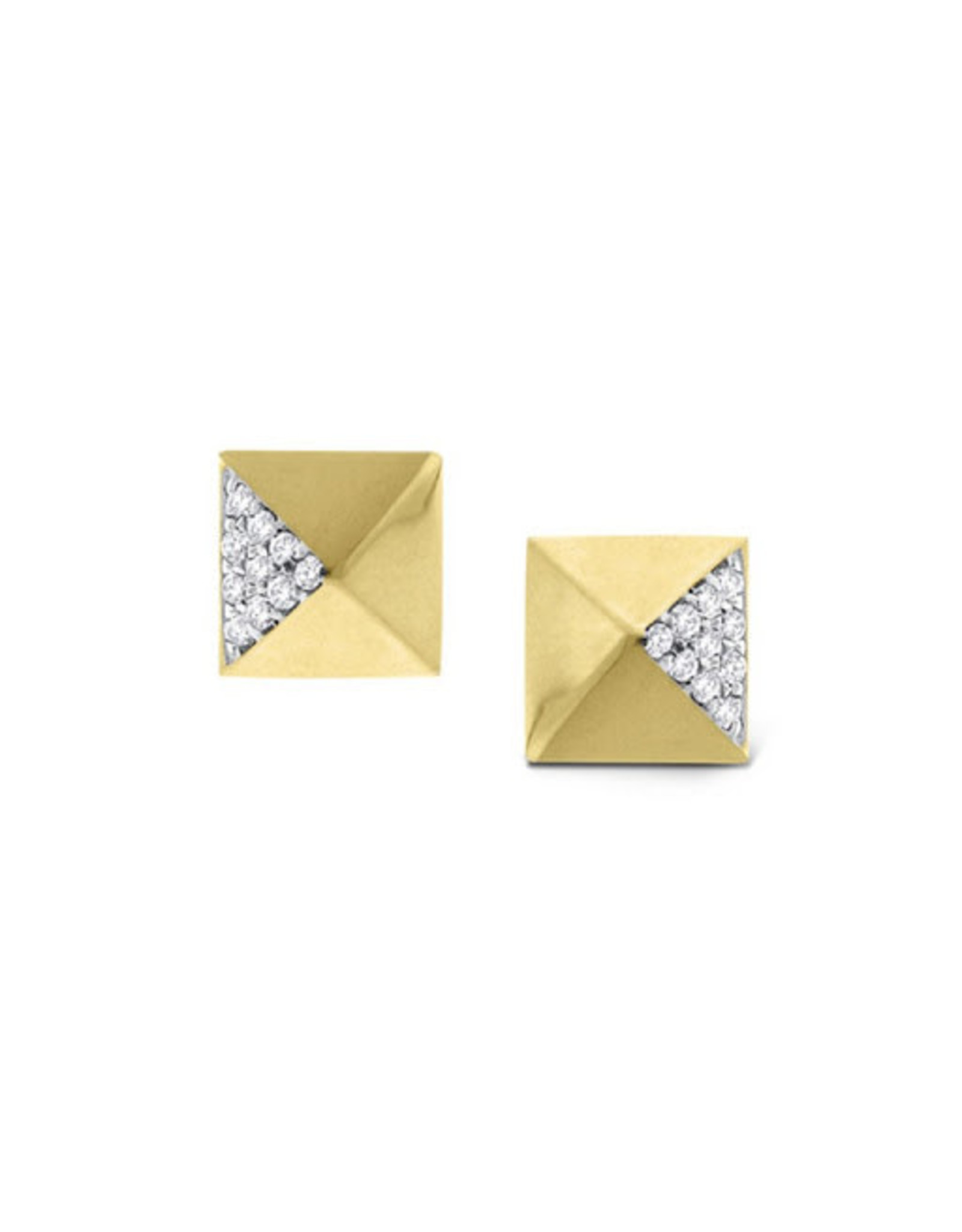 14K Yellow Gold Diamond Pyramid Stud Earrings, D: 0.10ct