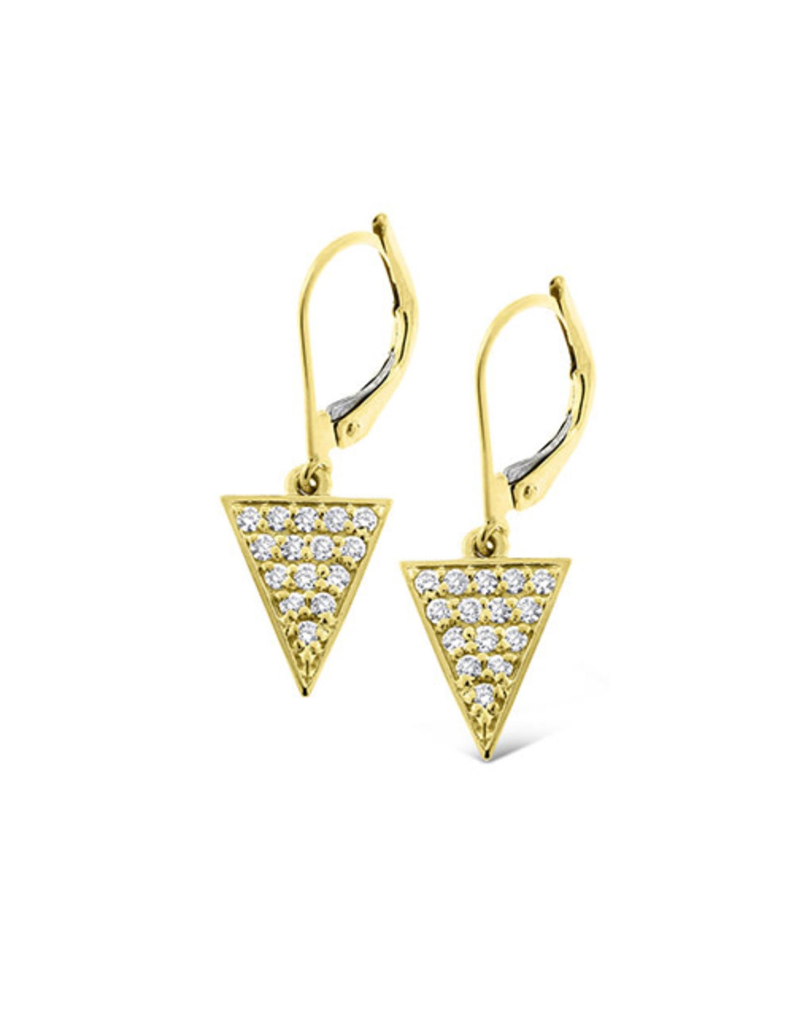 14K Yellow Gold Diamond Triangle Dangle Earrings, D: 0.30ct
