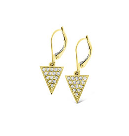 14K Y/G Diamond Triangle Dangle Earrings