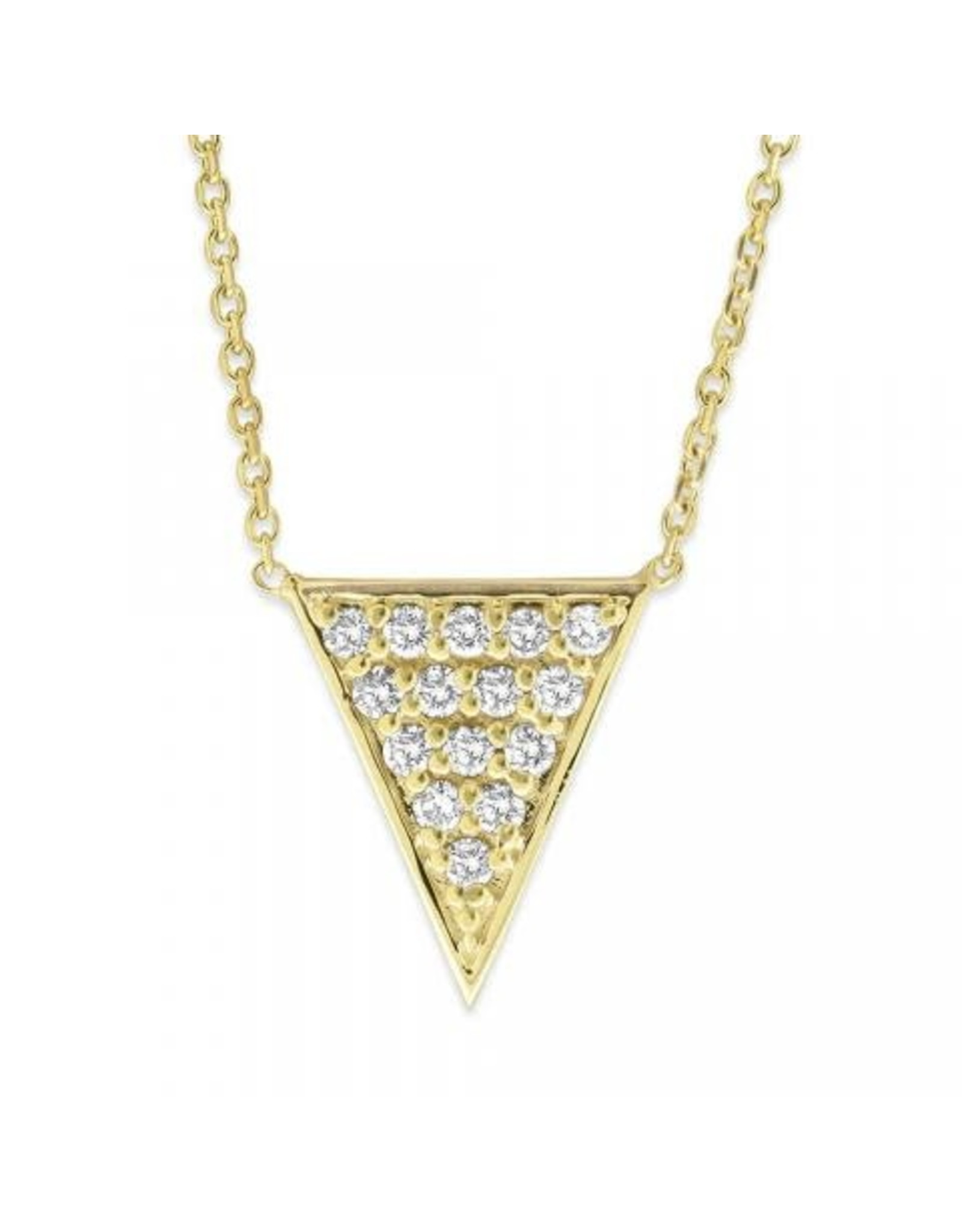 14K Yellow Gold Pave Diamond Triangle Necklace, D: 0.32ct