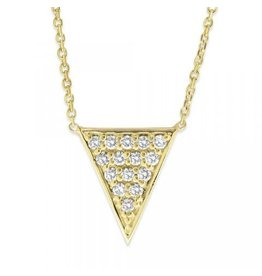 14K Y/G Pave Diamond Triangle Necklace