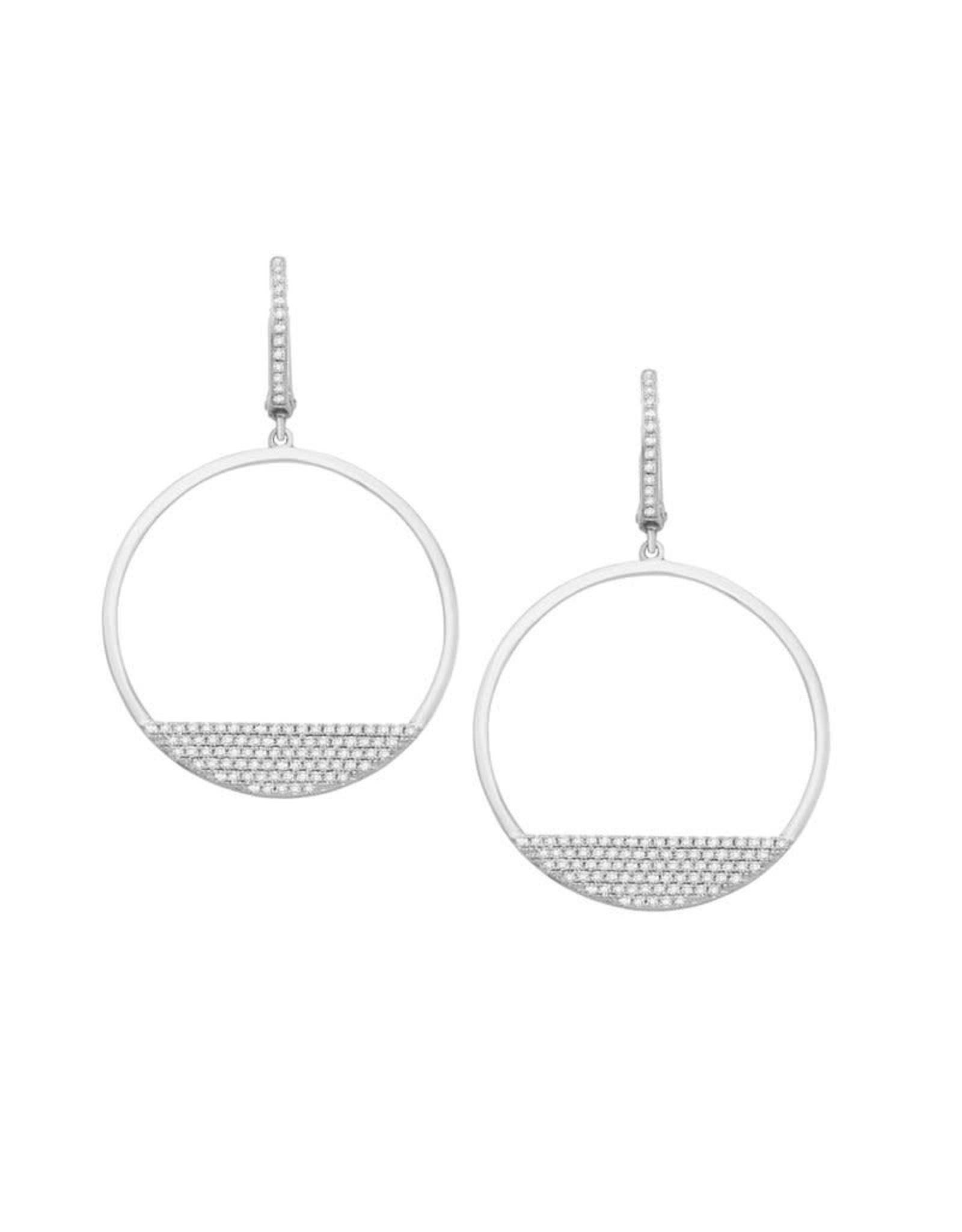 14K White Gold Half Circle Pave Diamond Earrings, D: 0.54ct