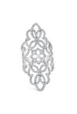 14K White Gold Elongated Antique Inspired Diamond Ring, D: 1.30ct