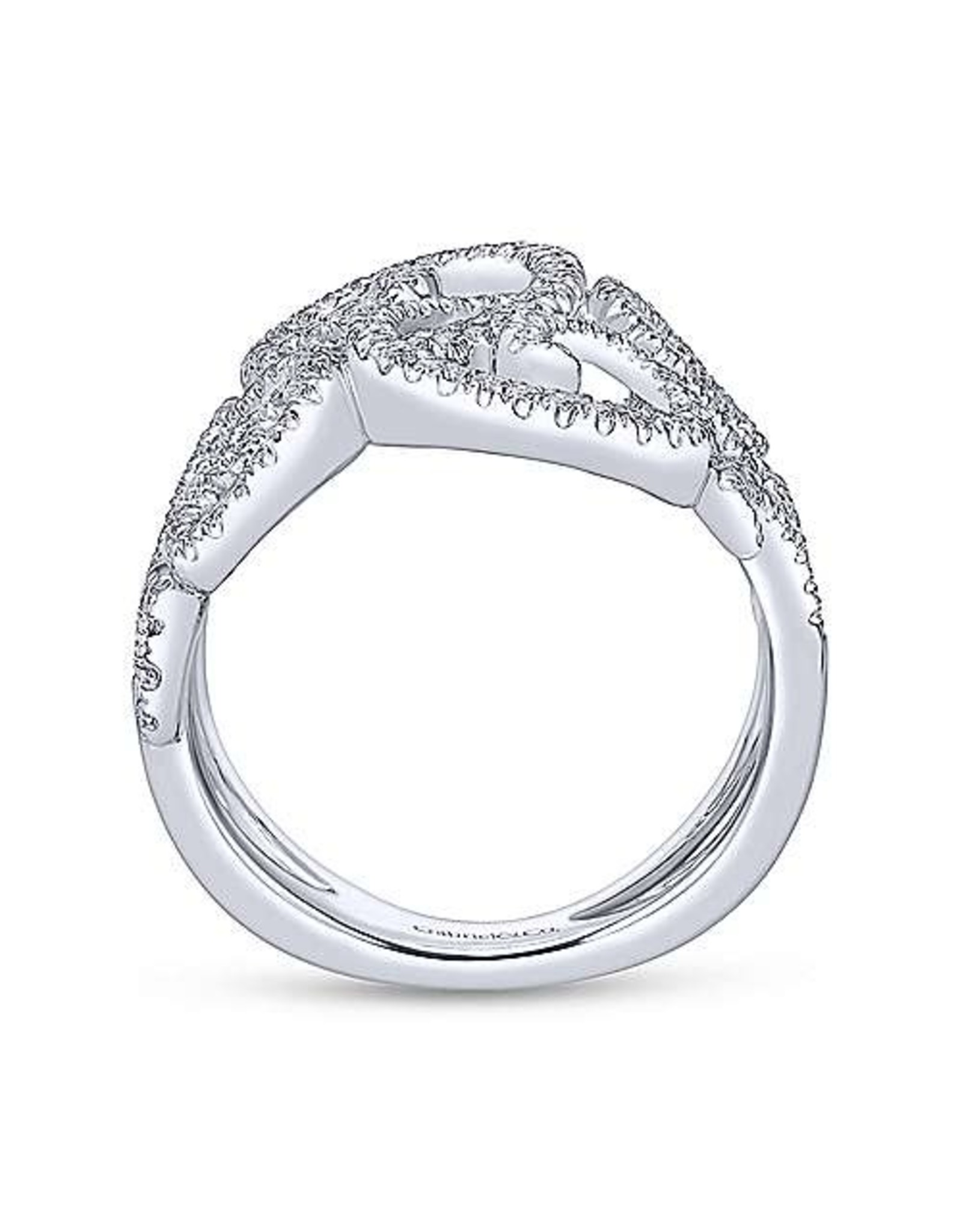 14K White Gold Pave Diamond Lace Ring, D: 0.64ct
