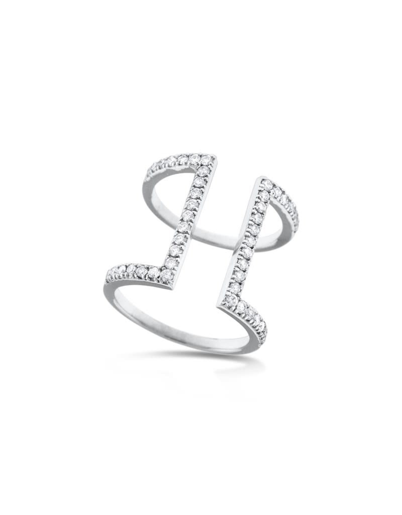 14K White Gold Wide Modern Geometric Diamond Bar Ring, D: 0.62ct