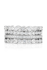 14K White Gold Stackable Diamond Eternity Rings Set, D: 0.83ct