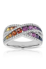 18K White Gold Multi Color Sapphire and Diamond Criss Cross Ring, SA: 1.23ct, D: 0.51ct