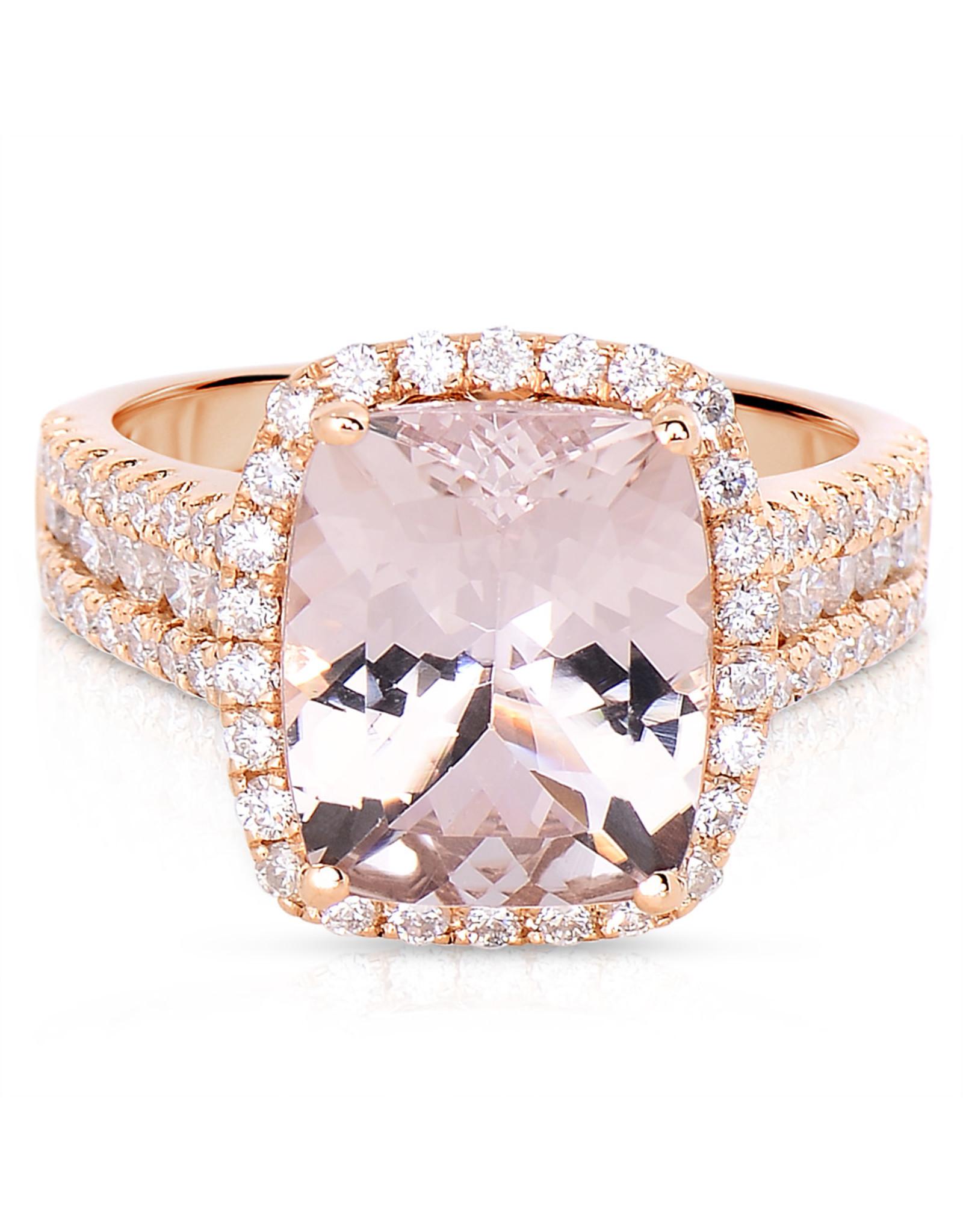 18K Rose Gold Morganite and Diamond Fashion Ring, M: 5.25ct, D: 1.21ct