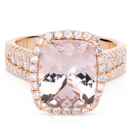 18K R/G Morganite & Diamond Fashion Ring