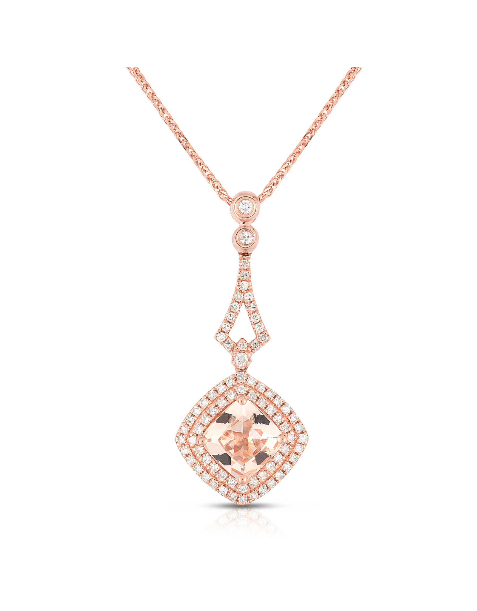 14K Rose Gold Morganite and Diamond Necklace, M: 1.31ct, D: 0.32ct