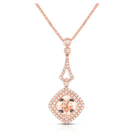14K R/G Morganite & Diamond Necklace