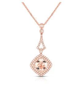 14K R/G Morganite & Diamond Necklace