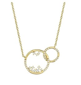 14K Y/G Entwined Circle Diamond Necklace, D: 0.15ct