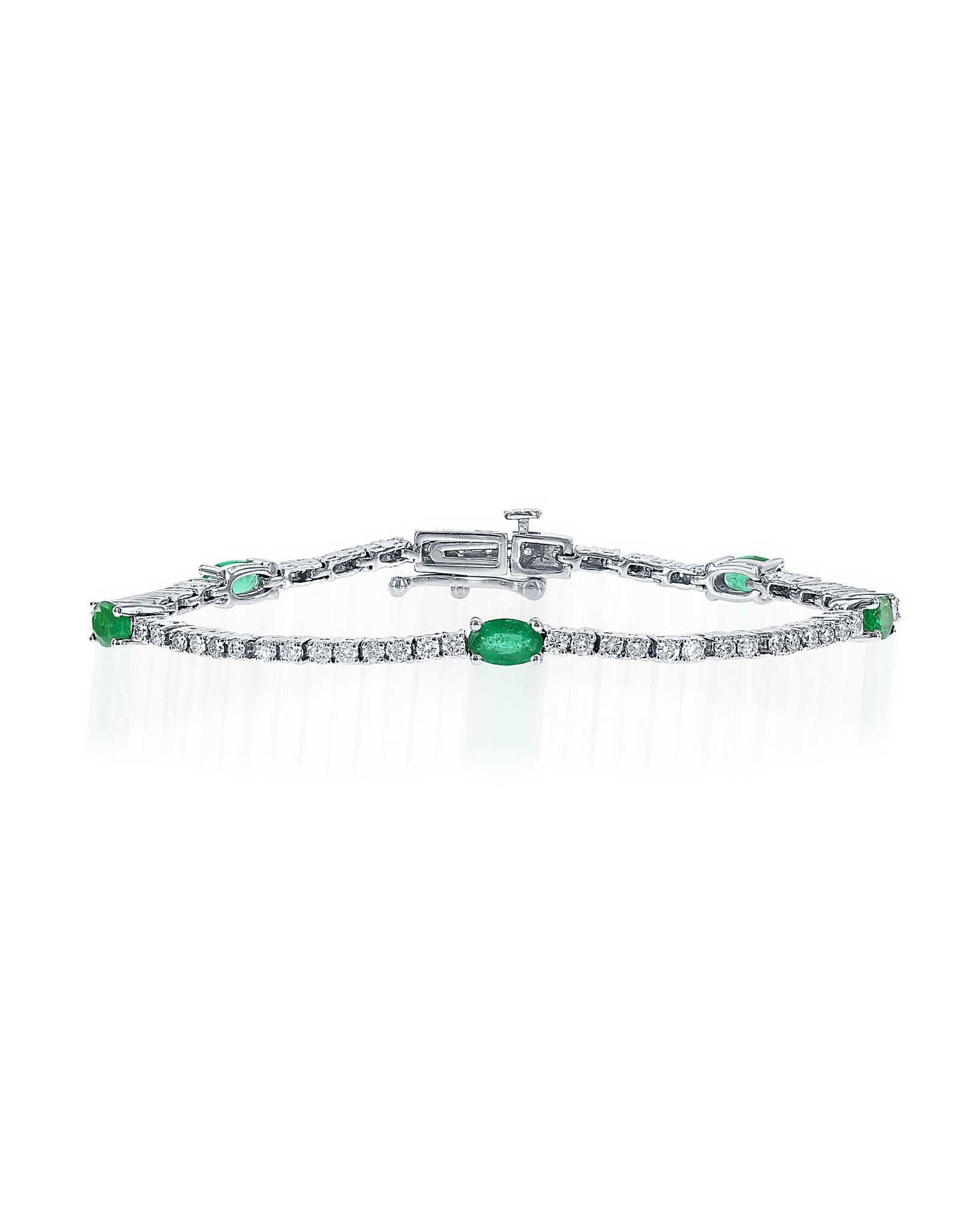 14K White Gold Emerald and Diamond Tennis Bracelet, E: 3.76ct, D: 0.40ct