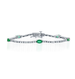 14K W/G Emerald & Diamond Tennis Bracelet