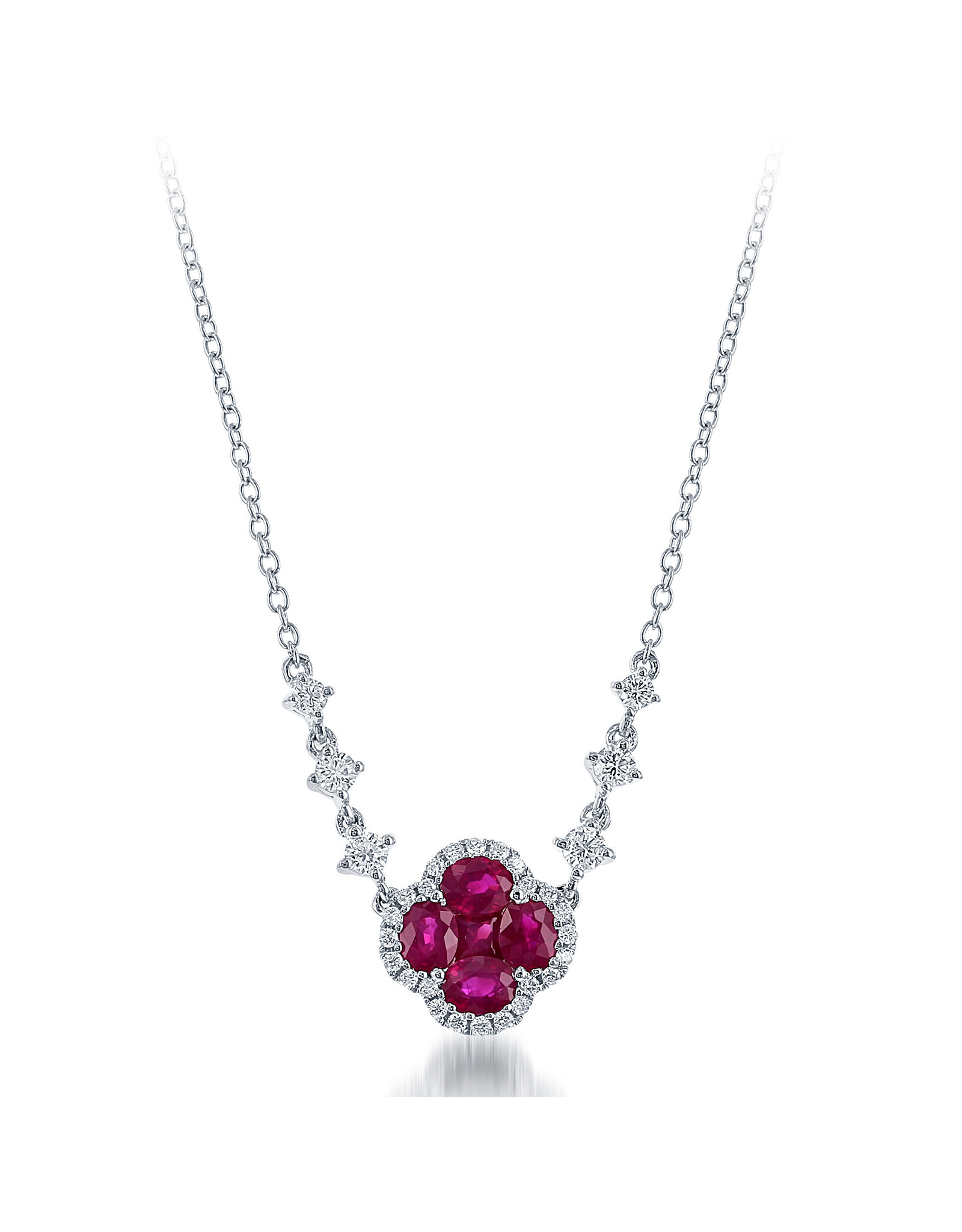 14K White Gold Ruby and Diamond Necklace, R: 1.13 ct, D: 0.35ct