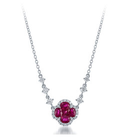 14K W/G Ruby & Diamond Necklace