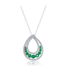 14K W/G Emerald and Diamond Necklace