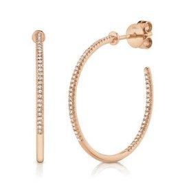 14K R/G Skinny Diamond Hoop Earrings