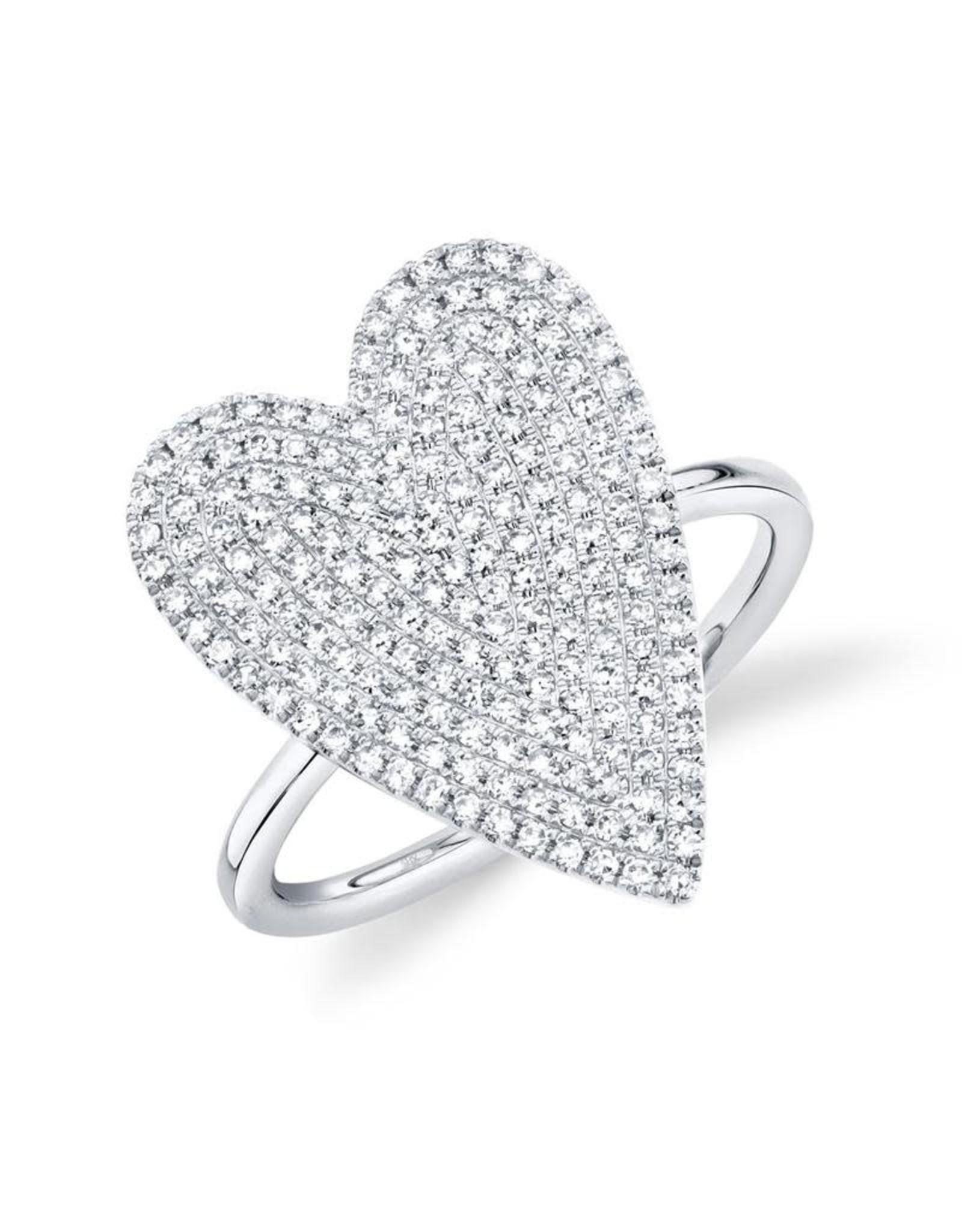 14K White Gold Diamond Pave Heart Ring, D: 0.26ct